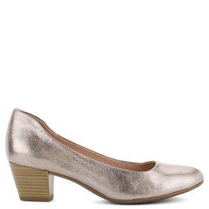 Rózsaszín Tamaris cipő kb 5 cm magas Antishokk sarokkal. Metálosan csillogó  bőrből készült 26ba5b9efd