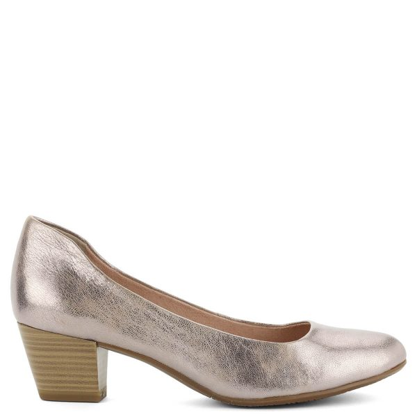 Rózsaszín Tamaris cipő kb 5 cm magas Antishokk sarokkal. Metálosan csillogó bőrből készült, puha talpbéléssel. Klasszikus Tamaris cipő modern megjelenéssel.