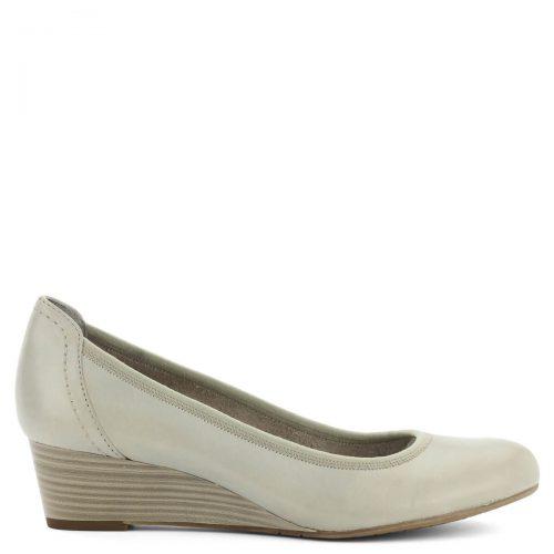 Telitalpú Tamaris cipő bőr felsőrésszel, szürke színben. Sarka 4 cm magas