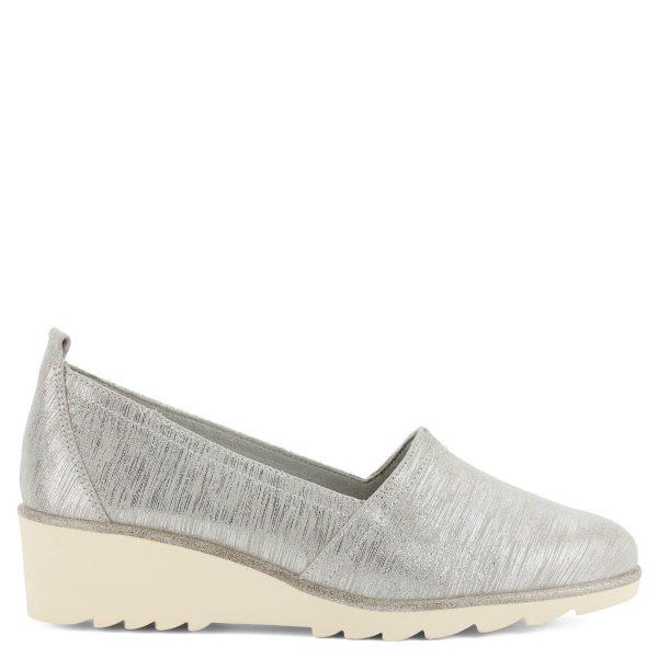 Ezüstös csillogású Tamaris cipő kb 4 cm magas sarokkal. Kényelmes memóriahabos talpbéléssel készült, bőr felsőrésszel