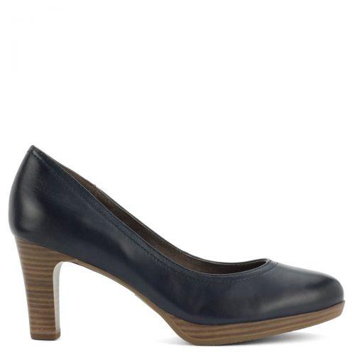 Magas sarkú Tamaris cipő sötétkék színben, kényelmes Antishokk sarokkal és memóriahabos Touch It talpbéléssel.