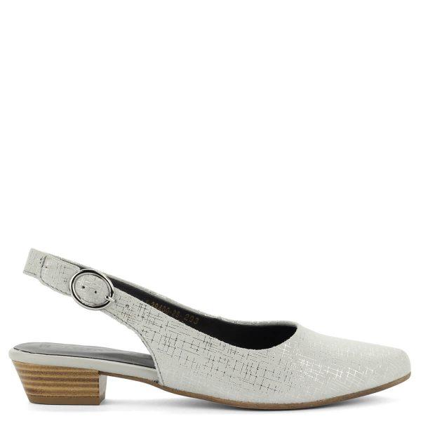 Kis sarkú Tamaris szandálcipő szürke színben, hálós mintás ezüst csíkokkal. Kényelmes, elegáns hegyes orrú cipő, sarokmagassága kb 3 cm.