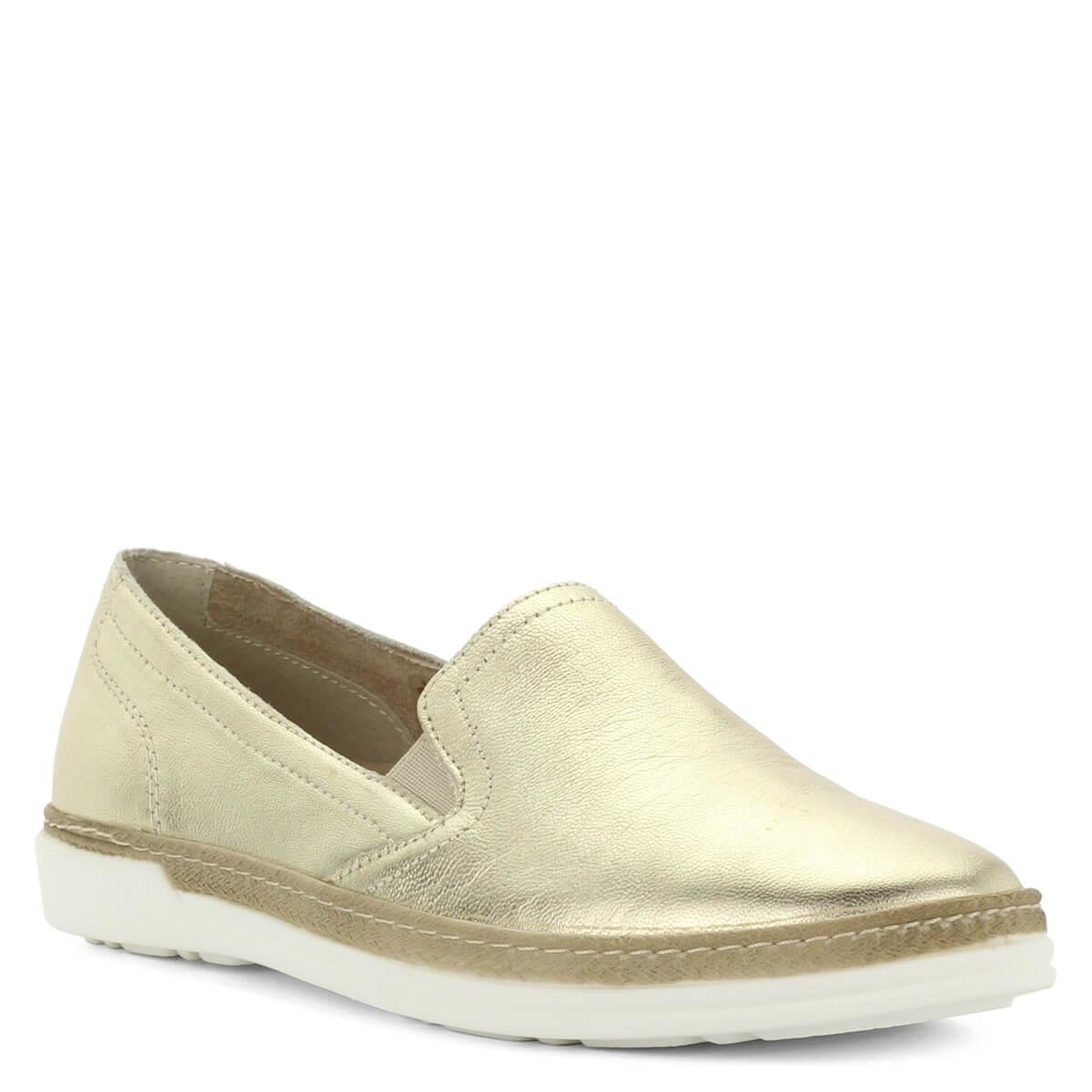 d79efd0b54 Aeros arany bőr slipon. Kényelmes olasz gyártású, bőrből készült könnyű női  cipő.