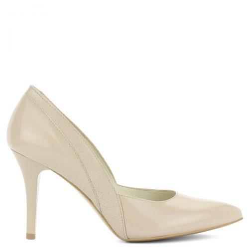 Anis bézs színű bőr magassarkú cipő 9 cm magas sarokkal. A cipő oldalát nyomott minta díszíti. Hegyes orrú, magas sarkú, jó sarokállású kényelmes modell.