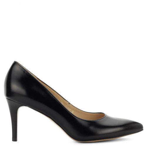 Anis alkalmi cipő fekete színben, 8 cm magas elegáns sarokkal. Kívül belül természetes bőrből készült.