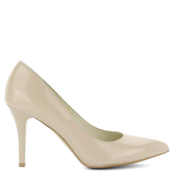 Anis alkalmi cipő ekrü színben. Sarka 9 cm magas, kívül belül bőrből készült. Letisztult, elegáns fazon. Elegáns hegyes orrú női cipő.