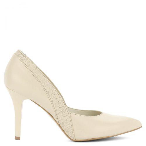 Ekrü színű Anis alkalmi cipő bőr felsőrésszel és bőr béléssel. 9 cm magas sarokkal készült, anyagában díszített. Alkalomra, esküvőre is ajánljuk.