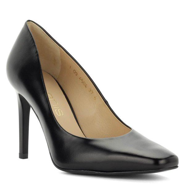 Fekete Anis cipő vágott orral, 9 cm magas sarokkal. Kívül-belül bőrből készült, klasszikus magassarkú cipő. - ChiX Női Cipő Webáruház