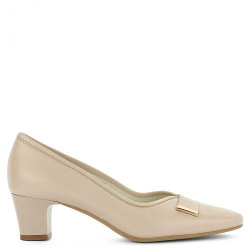 Kis sarkú bézs Anis bőr cipő. Kívül-belül bőr, elegáns női cipő 5 cm magas sarokkal. Elején arany színű kis fém dísz található.