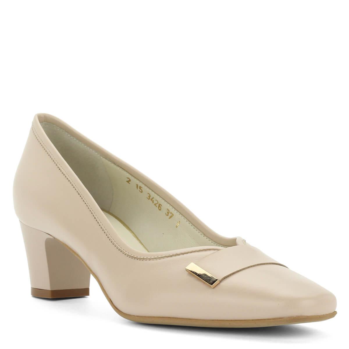 Kis sarkú bézs Anis bőr cipő. Elegáns kocka sarkú női alkalmi cipő. 7da8dc7ba8