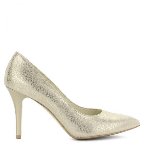 Hegyes orrú Anis cipő arany színben. Extra felsőrésze a legkülönlegesebb alkalmakon is megállja a helyét. Bőrből készült, sarokmagassága 9 cm.