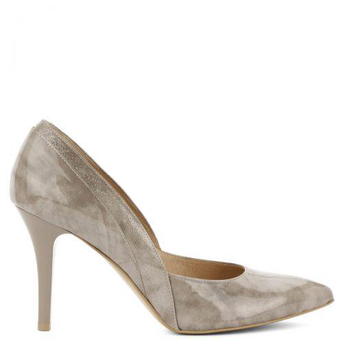 Bézs Anis magas sarkú lakk cipő. Különleges márványos hatású bőrből készült, 9 cm magas sarokkal. Kívül belül bőr, oldalán nyomott minta található.