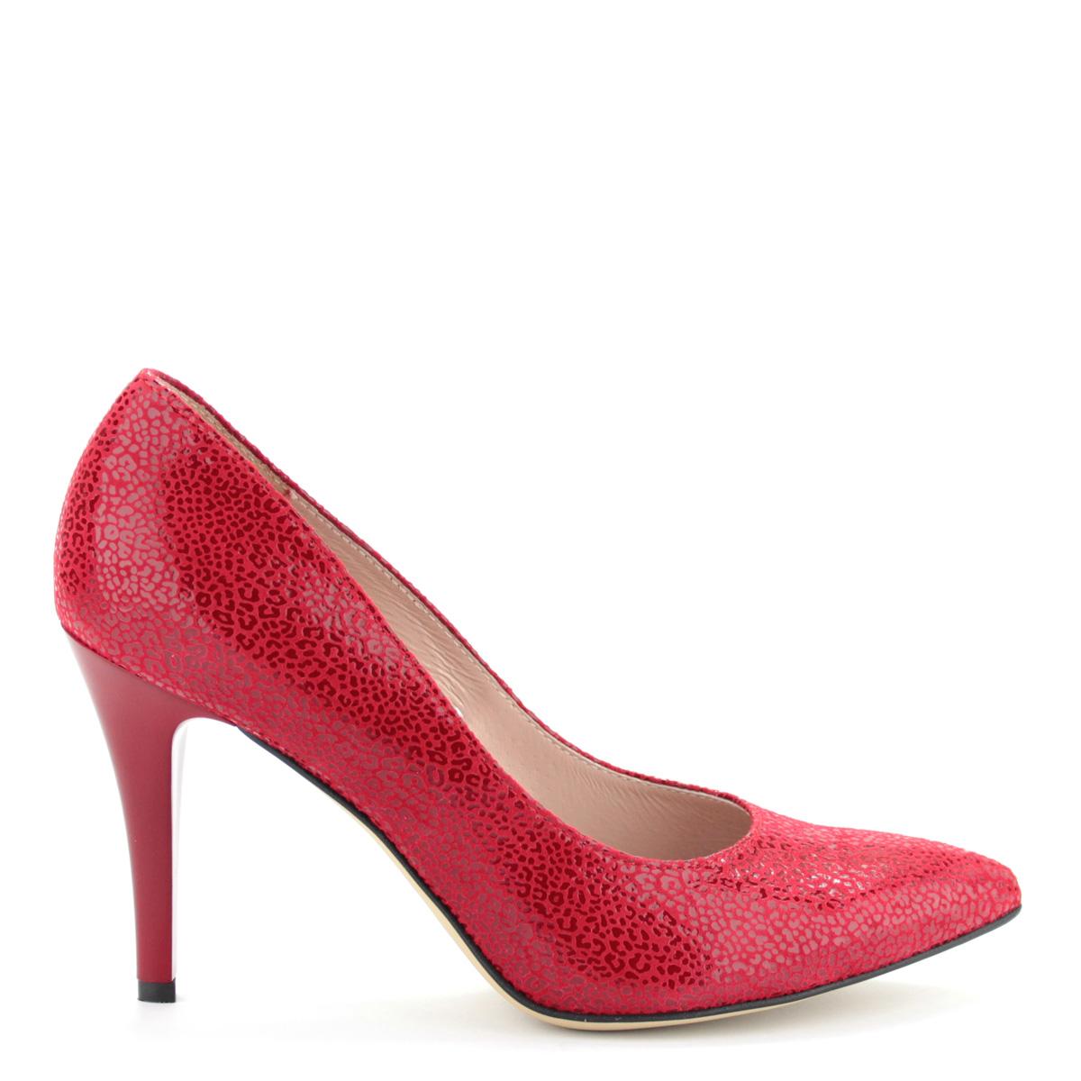 c49481d399 ... Anis alkalmi cipő piros színben 9 cm magas sarokkal, hegyes orral,  különleges texturált felületű ...