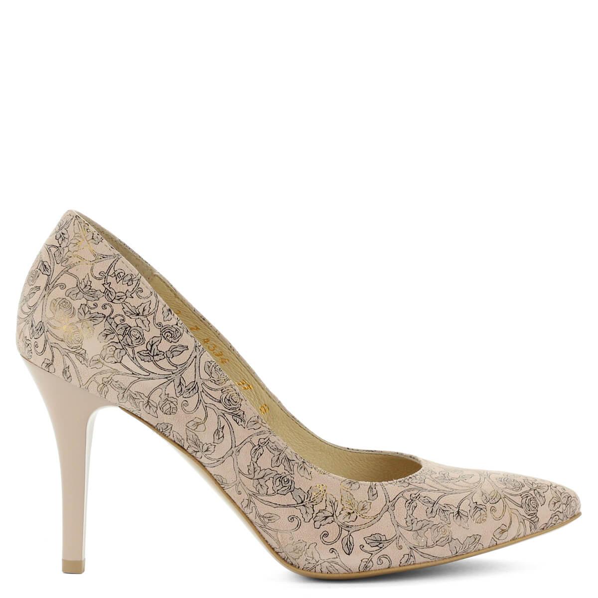 Virágmintás Anis magassarkú bőr cipő. Különleges mintájú felsőrésszel  készült. Kívül belül bőr 32450bd8ee