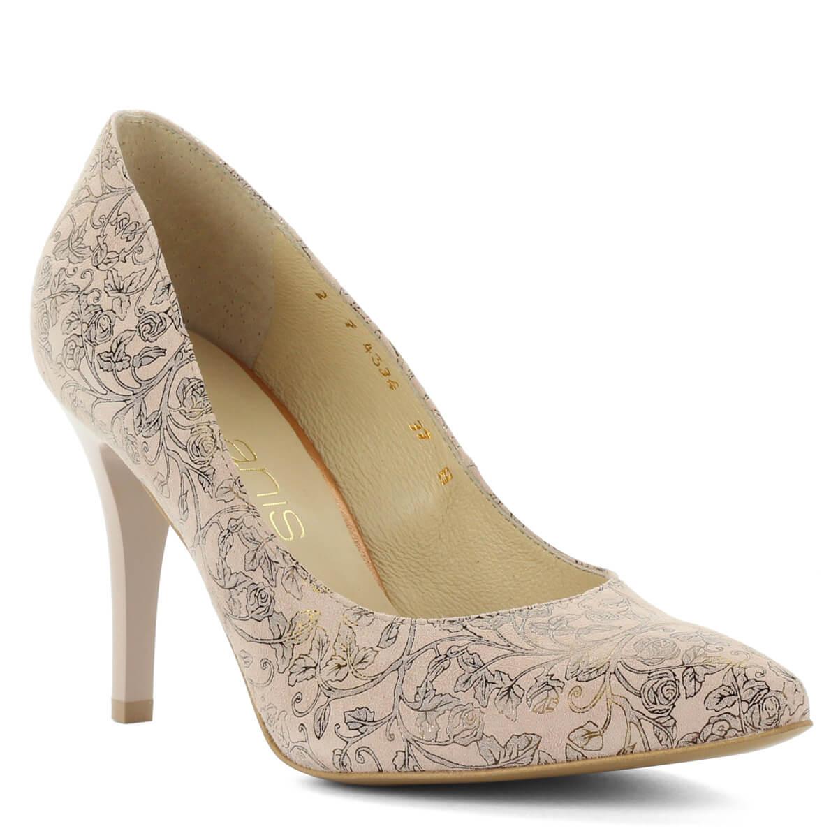 ... Virágmintás Anis magassarkú bőr cipő. Különleges mintájú felsőrésszel  készült. Kívül belül bőr 6e5316a3dd