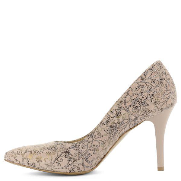 Virágmintás Anis magassarkú bőr cipő. Különleges mintájú felsőrésszel készült. Kívül belül bőr, sarka 9 cm magas.