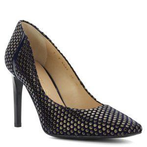 Anis vágott orrú kék magassarkú cipő. Kívül-belül bőrből készült, sarka 9 cm magas. Felsőrészét arany kör minta díszíti. - ChiX Női Cipő Webáruház