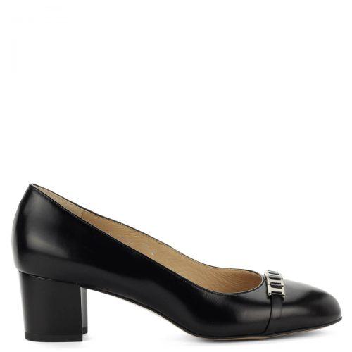Közepes sarkú Anis bőr cipő 5 cm magas