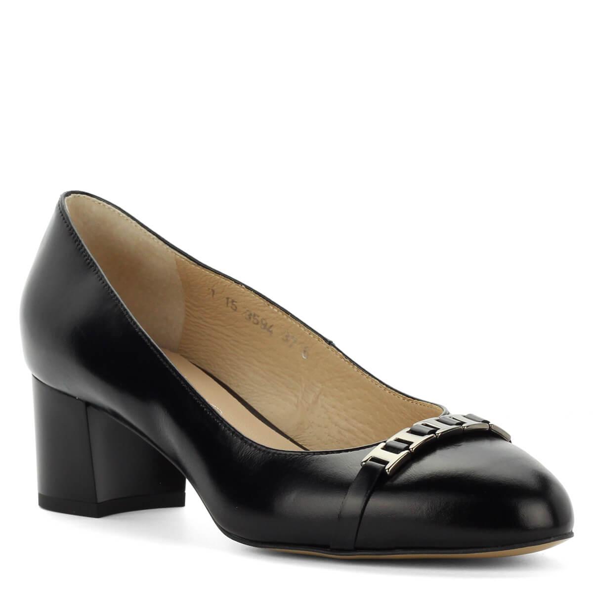 Orrán fém díszítés  Közepes sarkú Anis bőr cipő 5 cm magas