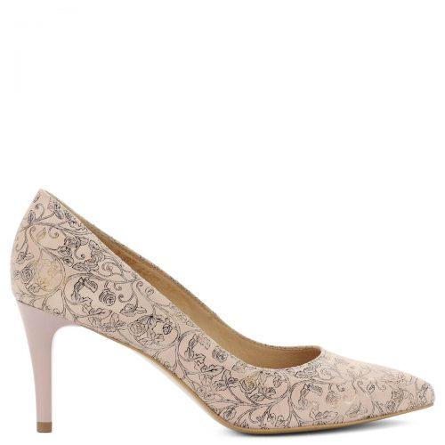 Anis rózsaszín mintás cipő hegyes orral, 8 cm magas sarokkal. Elegáns, kiváló sarokállású bőr cipő, különleges mintás felsőrésszel, bőr béléssel.