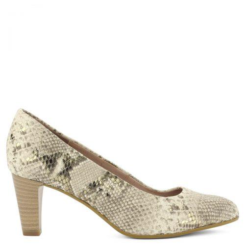 Be Natural kígyómintás magassarkú cipő 6,5 cm magas Antishokk sarokkal. A kényelem és az elegancia összhangját hozza el ez a kívül-belül bőr cipő.