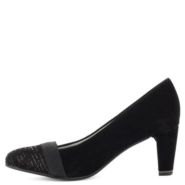 Be Natural fekete női cipő. Prémium minőségű női cipő 6,5 cm magas sarokkal, fekete nubuk bőr felsőrésszel. Sarka Antishokk technológiával készült.