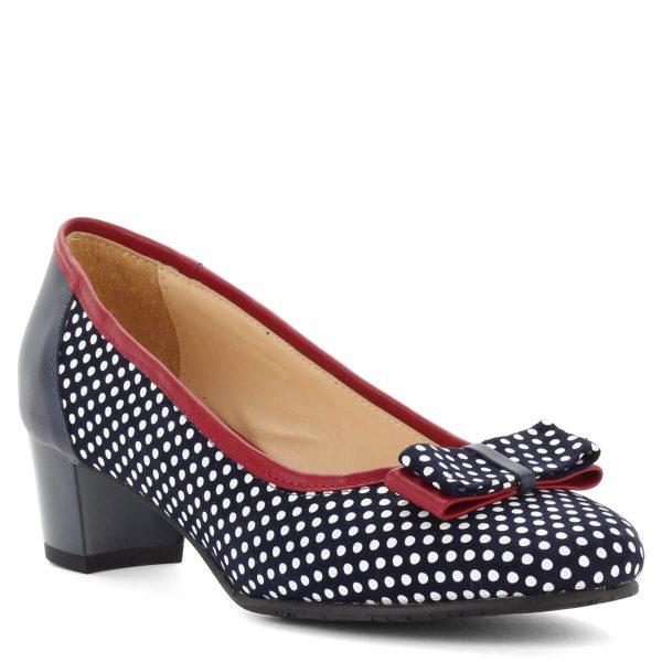 Clarette kis sarkú pöttyös cipő masni dísszel, piros szegéllyel. Kívül belül bőr cipő, sarka 4 cm magas. kék-fehér bőr cipő, elején masni díszítéssel.