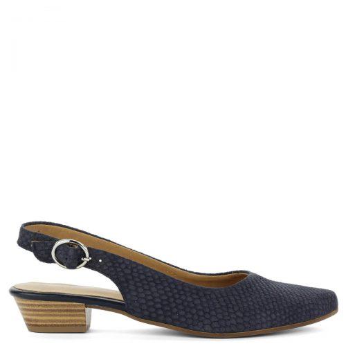 Kék Tamaris szandálcipő strukturált mintázatú felsőrésszel kék színben. A szandálcipő anyaga bőr, sarka kb 3 cm magas. Kényelmes, elegáns hegyes orrú cipő.