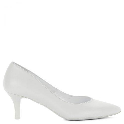 Fehér Kotyl cipő közepes sarokkal. Elegáns körömcipő 6 cm magas sarokkal. Akár menyasszonyi cipőnek is ajánljuk. Bélése és felsőrésze egyaránt bőr.