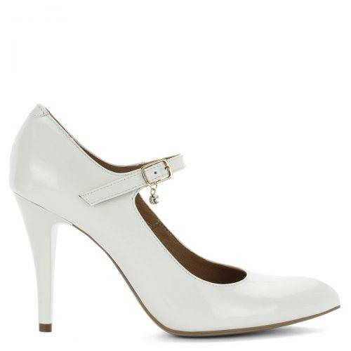 Magas sarkú fehér Lukasz pántos cipő. Gyönyörű lakk női cipő, menyasszonyi cipőnek is tökéletes. Csatját kis kő díszíti, a cipő kívül-belül bőrből készült.