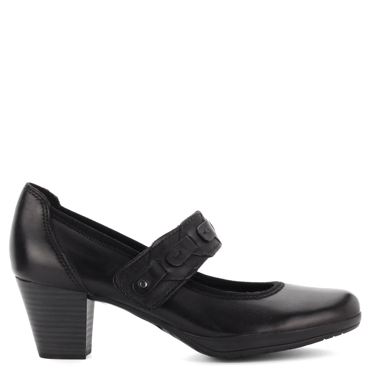 Fekete pántos Marco Tozzi cipő puha talpbéléssel. Antishokk sarka 5 d9e8eacb9d