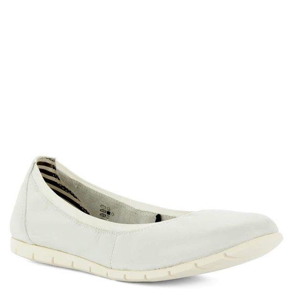 Tamaris balerina cipő fehér színben. Könnyű és kényelmes cipő hajlékony gumi talppal, memóriahabos talpbéléssel. Ívelt talp felvéve szépen fekszik a lábra.