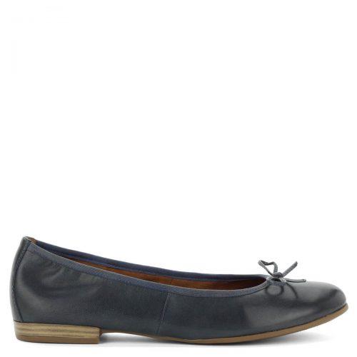 Kék Tamaris balerina cipő masni díszítéssel. Vékony gumi talppal készült, talpbélése a láb formájához igazodó memóriahabos Touch It bélés.
