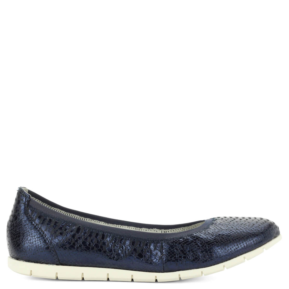 4536bb0afa Tamaris balerina cipő sötétkék színben, textúrált bőr felsőrésszel. Könnyű,  kényelmes cipő hajlékony gumi ...