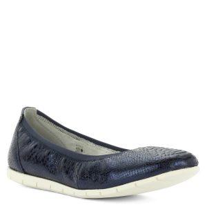 Tamaris balerina cipő sötétkék színben, textúrált bőr felsőrésszel. Könnyű, kényelmes cipő hajlékony gumi talppal és memóriahabos talpbéléssel.