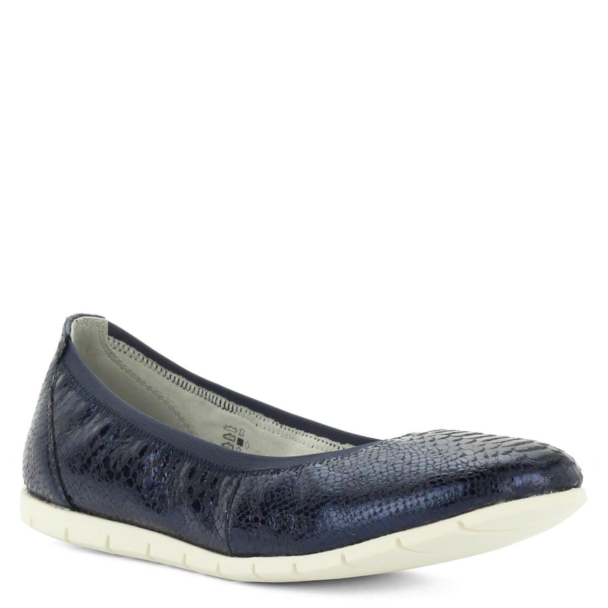61424d54f1 ... Tamaris balerina cipő sötétkék színben, textúrált bőr felsőrésszel.  Könnyű, kényelmes cipő hajlékony gumi ...