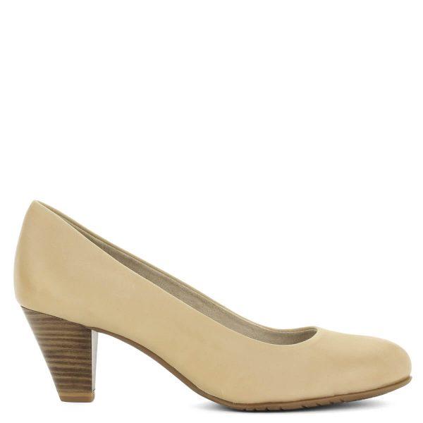 Bézs Tamaris cipő Antishokk sarokkal. Közepes magasságú (6 cm) sarokkal készült, memóriahabos Touch It talpbéléssel. Egész napra kényelmes viselet.