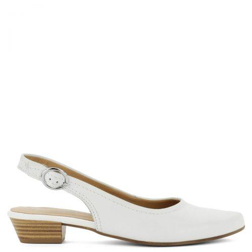 Fehér Tamaris szandálcipő kb 3 cm magas sarokkal. Sarokpántján csat található, mellyel a szandál bősége szabályozható. Elegáns, hegyes orrú fazon.