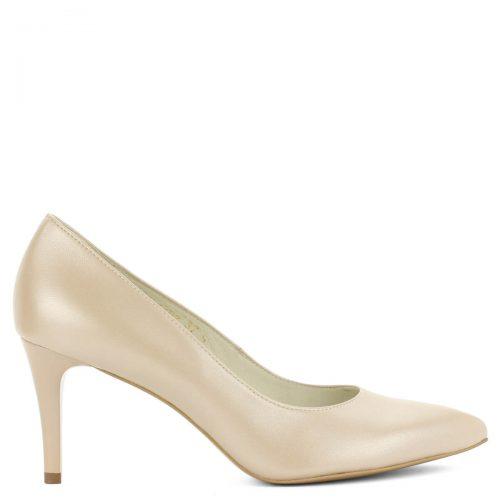 Anis bézs magassarkú cipő 8 cm magas sarokkal. Elegáns, kiváló sarokállású hegyes orrú bőr cipő. Bőre gyöngyház fényű. ChiX Női Cipő Webáruház