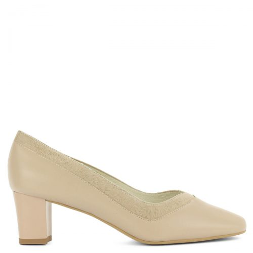 Anis bézs közepes sarkú bőr cipő stabil, 5,5 cm magas sarokkal. Felsőrésze és bélése is természetes bőr, körben mintás bőr szegéllyel.