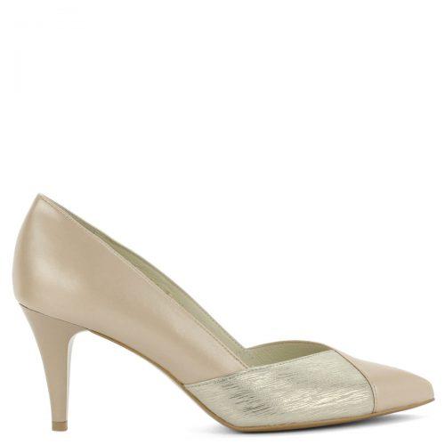 Anis bézs-arany körömcipő. Elegáns hegyes orrú fazon 8 cm-es sarokkal. Orrán arany betét található. Kiváló sarokállású, kényelmes magas sarkú cipő.