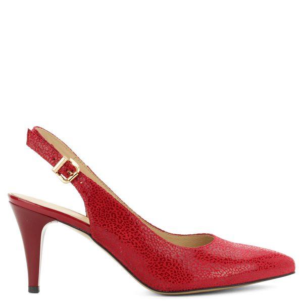 Piros magas sarkú Anis szandál 8 centis sarokkal, bőr felsőrésszel és bőr béléssel. - ChiX Női cipő webáruház
