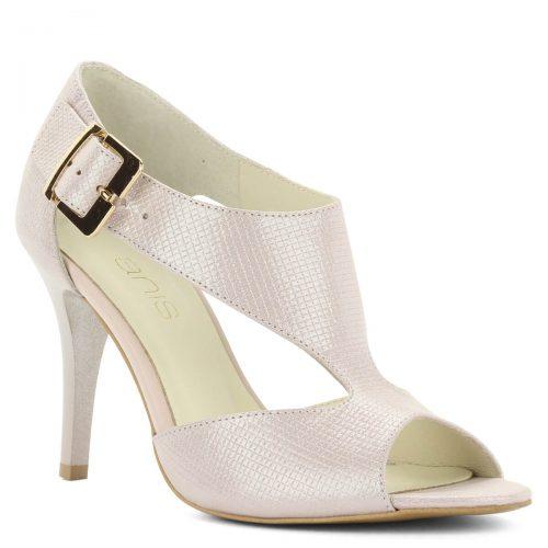 Púder színű magas sarkú Anis szandál 9 cm-es sarokkal. A szandál kívül-belül bőrből készült, pántjai biztosan tartják a lábat.