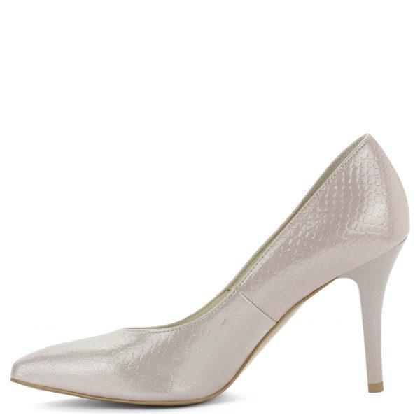 Púder színű Anis magassarkú cipő, felülete nyomott mintázatú bőr. Bélése bőrből készült, sarka 9 cm magas. Nagyon csinos, elegáns női cipő.