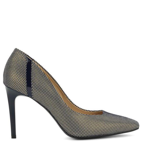 Anis vágott orrú apró mintás magassarkú cipő kék színben. A mintázat színe fehér és arany. Sarka 9 cm, kívül-belül bőrből készült.