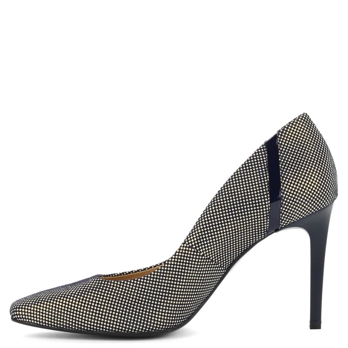 e8872c19181b ... Anis vágott orrú apró mintás magassarkú cipő kék színben. A mintázat  színe fehér és arany