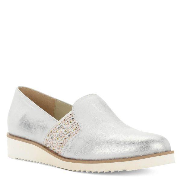 Baldaccini ezüst színű bőr slipon fehér gumi talppal. A cipő kívül-belül természetes bőrből készült, oldalában gumi betét található.