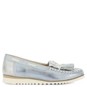 Noe Vision kék bőr mokaszín fehér gumi talppal. Nagyon könnyű, teljesen bőr női cipő. - ChiX Női Cipő Webáruház