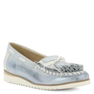 Noa Vision kék bőr mokaszín fehér gumi talppal. Nagyon könnyű, teljesen bőr női cipő. - ChiX Női Cipő Webáruház