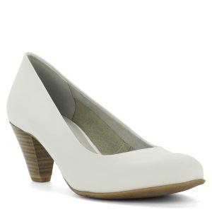 Fehér Tamaris cipő közepes sarokkal. Belsejében Touch It talpbélés fokozza a kényelmet, sarkába Antishokk réteg került. Magassága 6 cm.